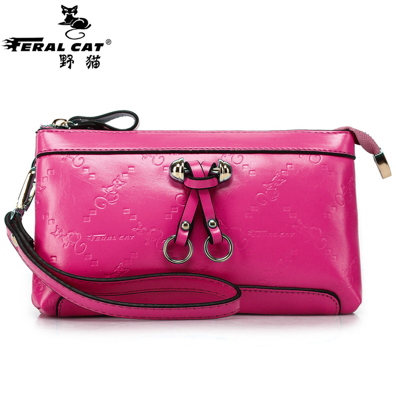 FERAL CAT Genuine Leather Women Wristlet Bag 2017 New Fashion Evening Clutch Purse Shoulder Chain Crossbody Handbags  5002 women genuine leather character embossed day clutches wristlet long wallets chains hand bag female shoulder clutch crossbody bag