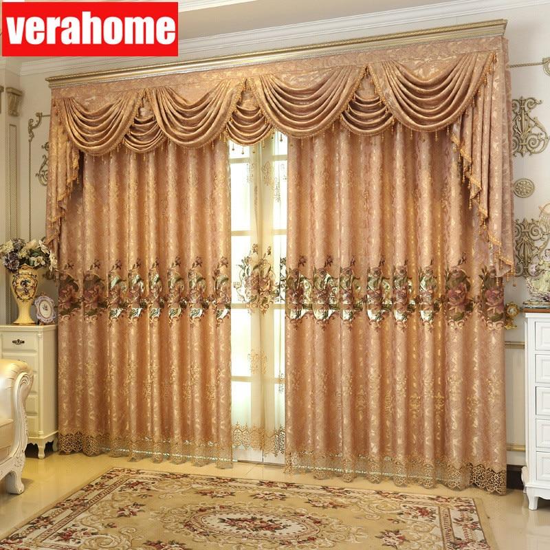 Europe Hollow Jacquard luxury chenille Burnt cloth curtains screening sheer tulle for bedroom living room windows pelmet valance
