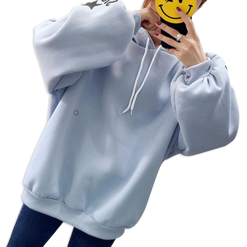 Women Loose Long sleeved Printed Letter Hoodies Large Size Thicken Plus Velvet Autumn Winter Hooded Sweatshirt in Hoodies amp Sweatshirts from Women 39 s Clothing