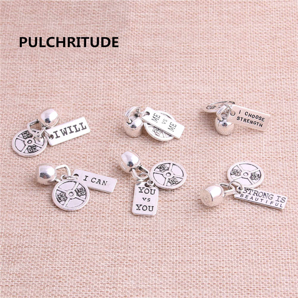 PULCHRITUDE 5sets/lot Zinc Alloy Antique Silver Color Pendant Bracelet Charm Sport Charm Letter Necklace Pendant Set C0030