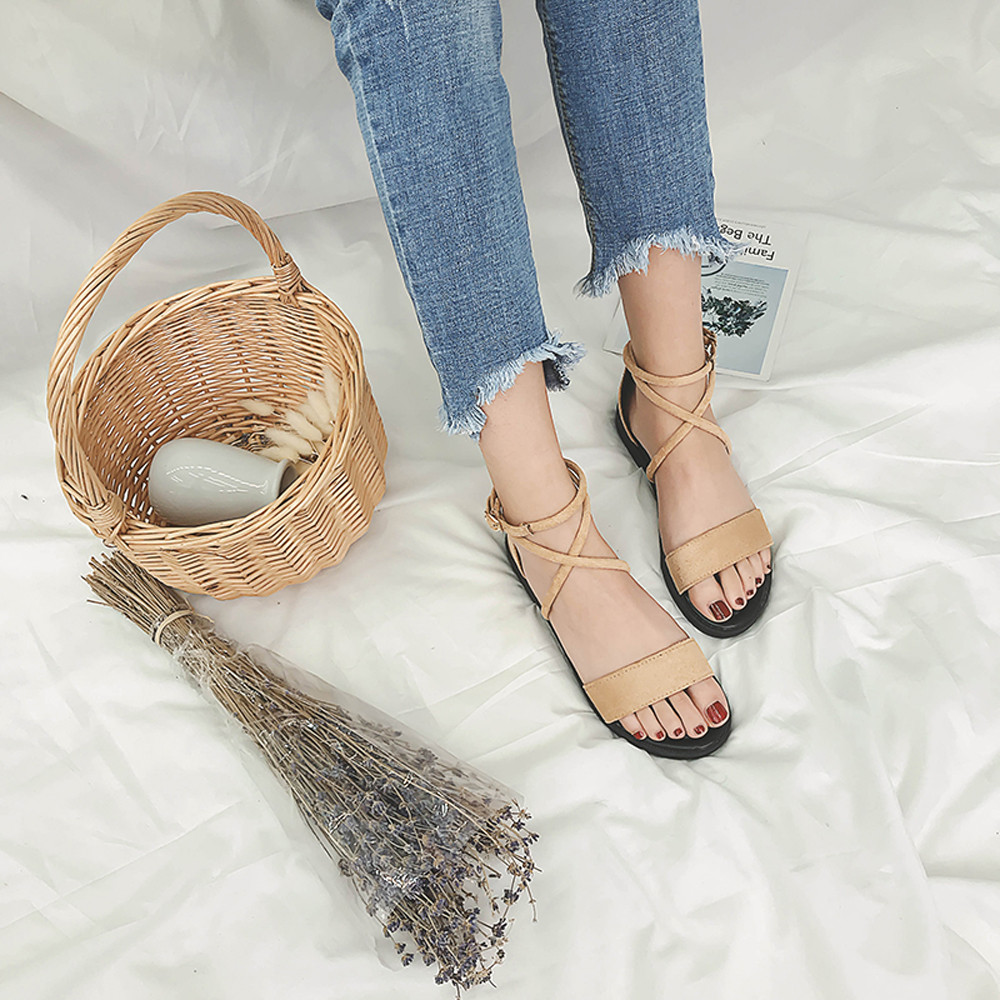 New Women Sandals Fashion Gladiator Sandals For Women Summer Shoes Female Flat Sandals Rome Style Cross Tied Sandals Shoes Women стоимость