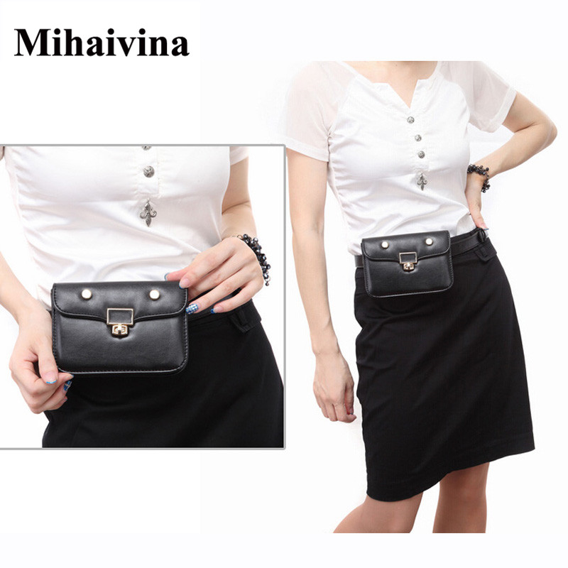 Mihaivina Casual Female Small Women Waist Pack Femal Belt Bag Phone Pouch Bags Fashion Women Waist Packs Fanny Pack Bolosa mihaivina fashion black leather fanny pack women waist pack casual small waist pouch women leather waist bag bolosa