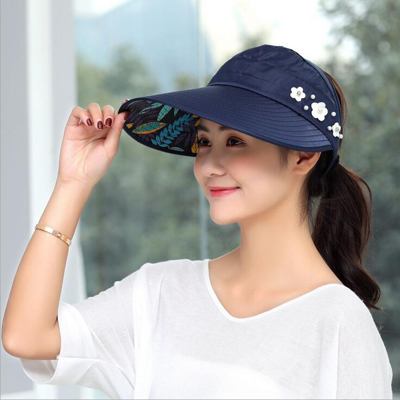 1PCS women summer Sun Hats pearl packable sun visor hat with big heads wide brim beach hat UV protection female cap (China)