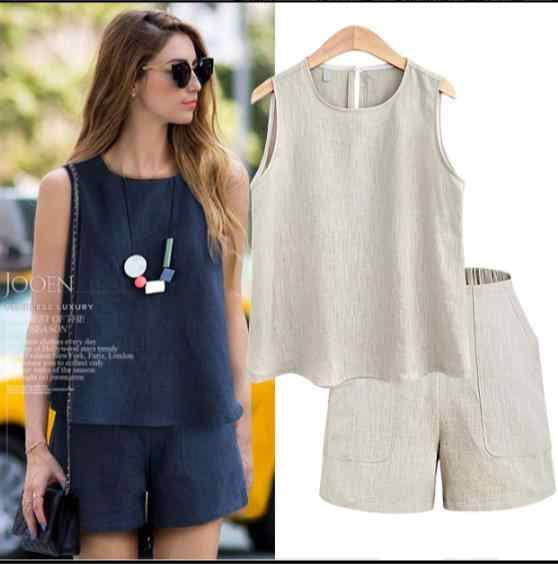 2 piece set women Summer Casual Cotton Linen tops + shorts two piece set Female Office Suit Set Women's Costumes plus size RQ241