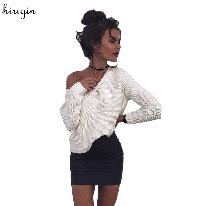 Winter white knitted sweater women 2017 Autumn pullover sweater Sexy long sleeve off shoulder sweater jumpers