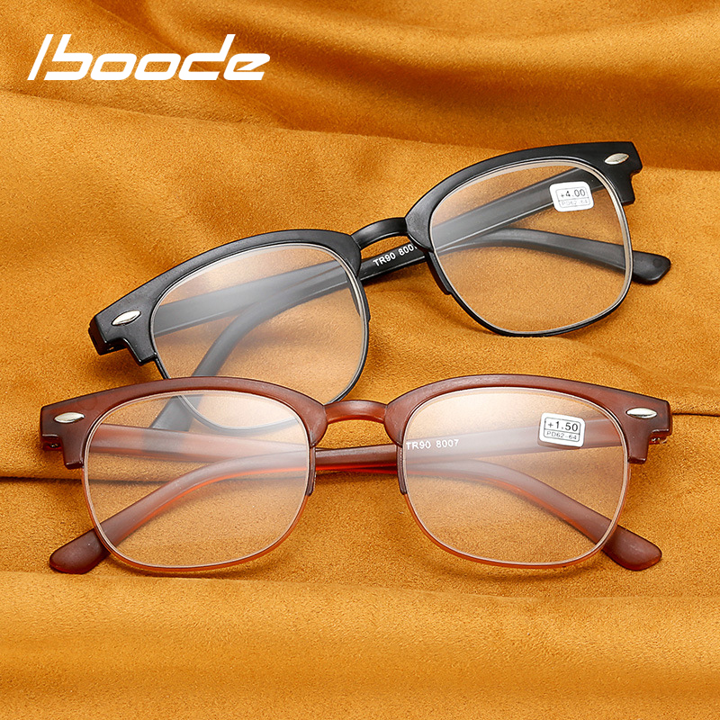 Iboode Retro TR90 Half Frame Reading Glasses Men Women Classic Ultralight Presbyopia Eyeglasses Prescription Glasses +1 1.5 2.5