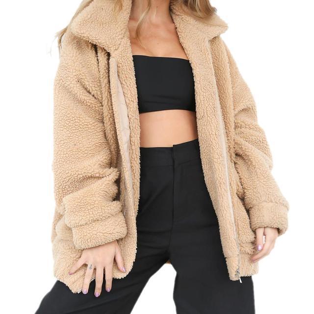 Fashion Lapel Sweatshirt Fleece Fur Coat 2018 Women Autumn Winter Warm Soft Jacket Thick Plush Zipper Overcoat Short Outerwear 1