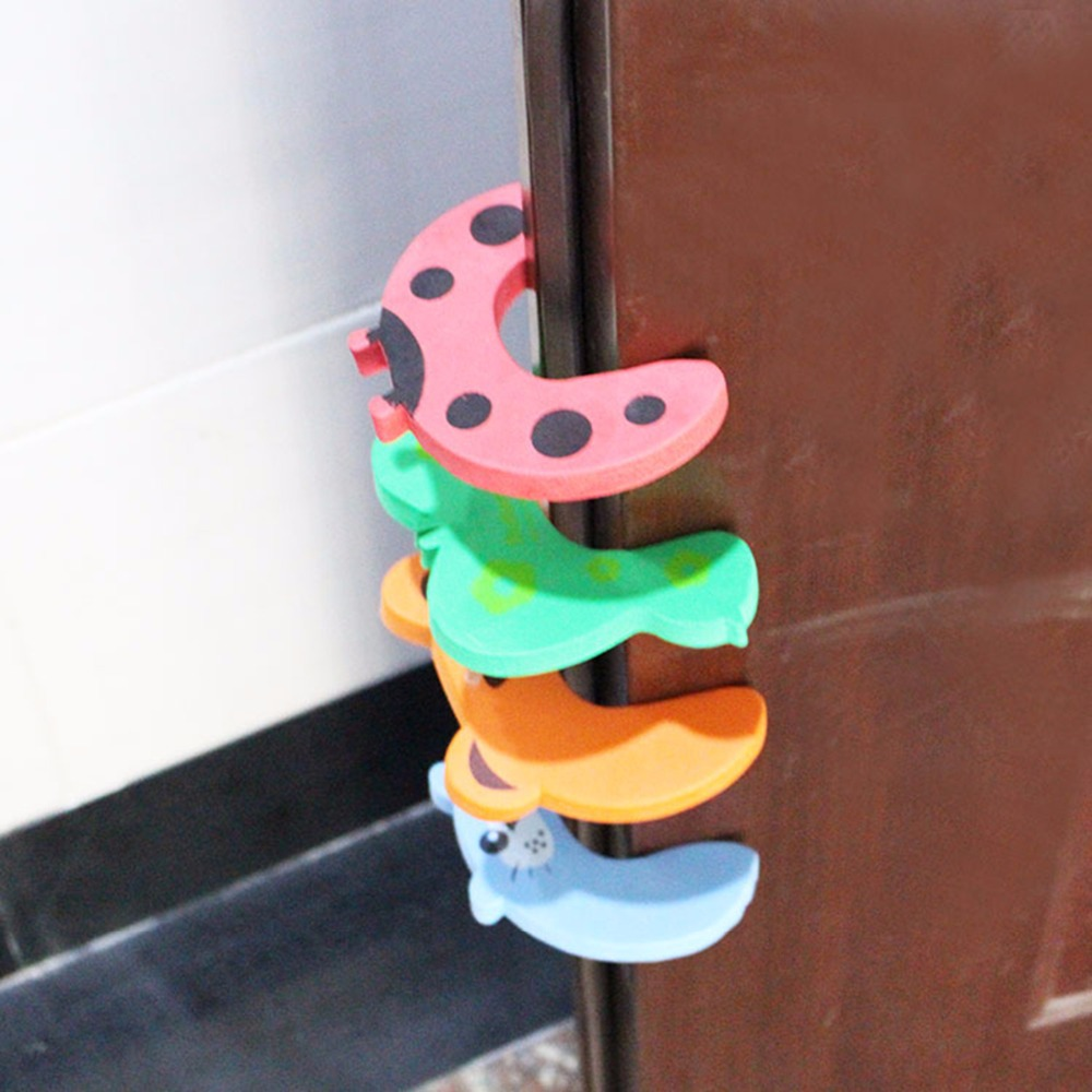 4pcs/lot Baby Kids Safety Door Stopper Cartoon Animal Protecting Corner Guard Jammers Furniture Accessories Guard Holder  Lock
