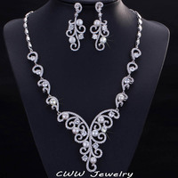 CWWZircons Vintage Cubic Zircon Setting White Gold Color Real Natural Fresh water Pearl Wedding Jewelry Sets For Women T214