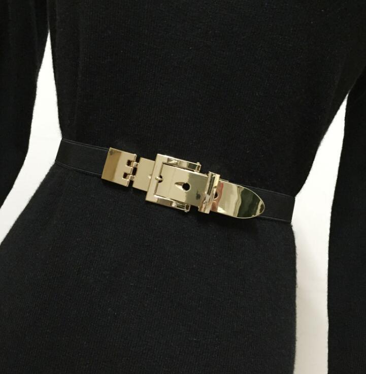 Women's Runway Fashion Metal Buckle Elastic Cummerbunds Female Dress Corsets Waistband Belts Decoration Belt R1523