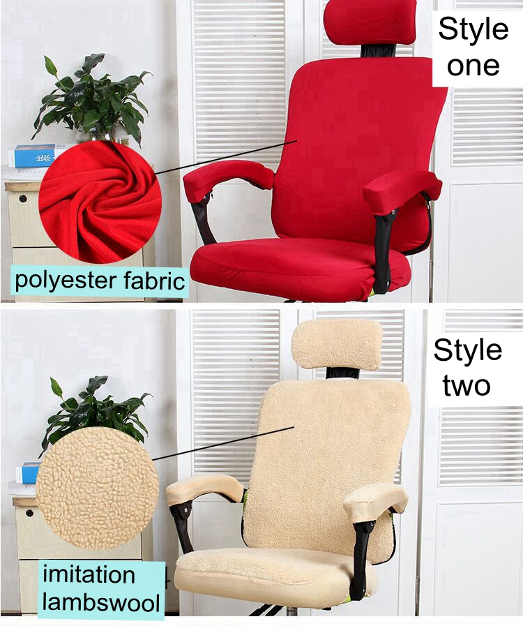 Smavia Pure Color Separate Style Office Chair Cover Easy Install