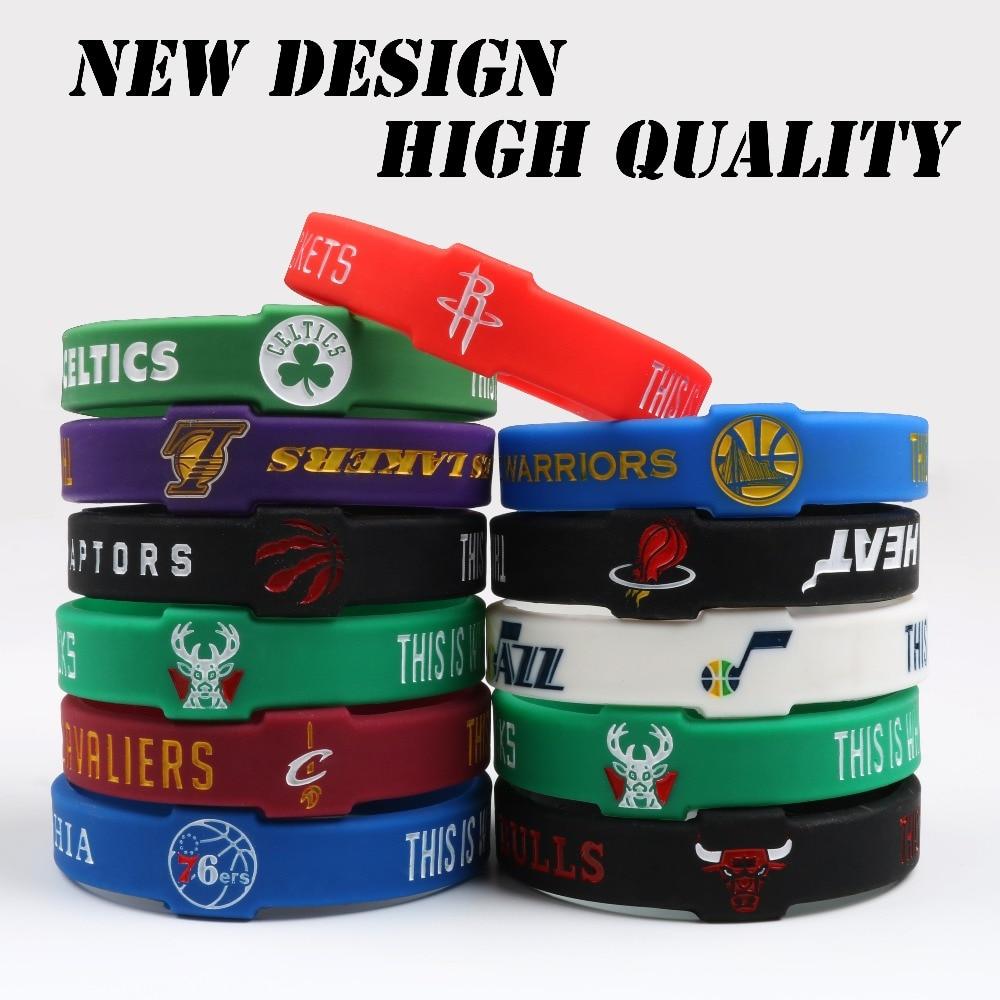 Wholesale 100PCS Mix Basketball Team Silicone Bracelets CAVALIERS WARRIORS ROCKETS CELTIC HEAT LAKERS Sport team Wristband