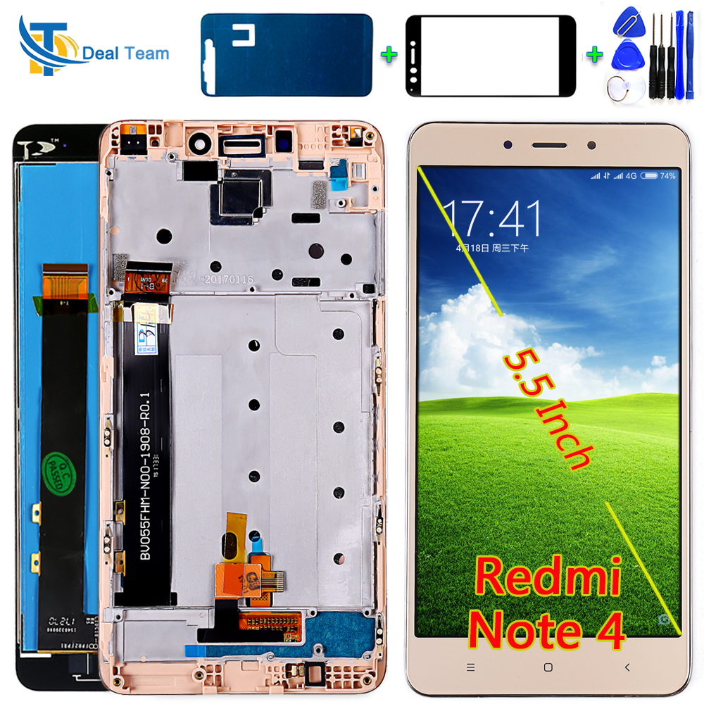 AAA Quality LCD Display For Xiaomi Redmi Note 4 (CPU: MTK Helio X20) Touch Screen Digitizer Assembly Frame With Free Tools