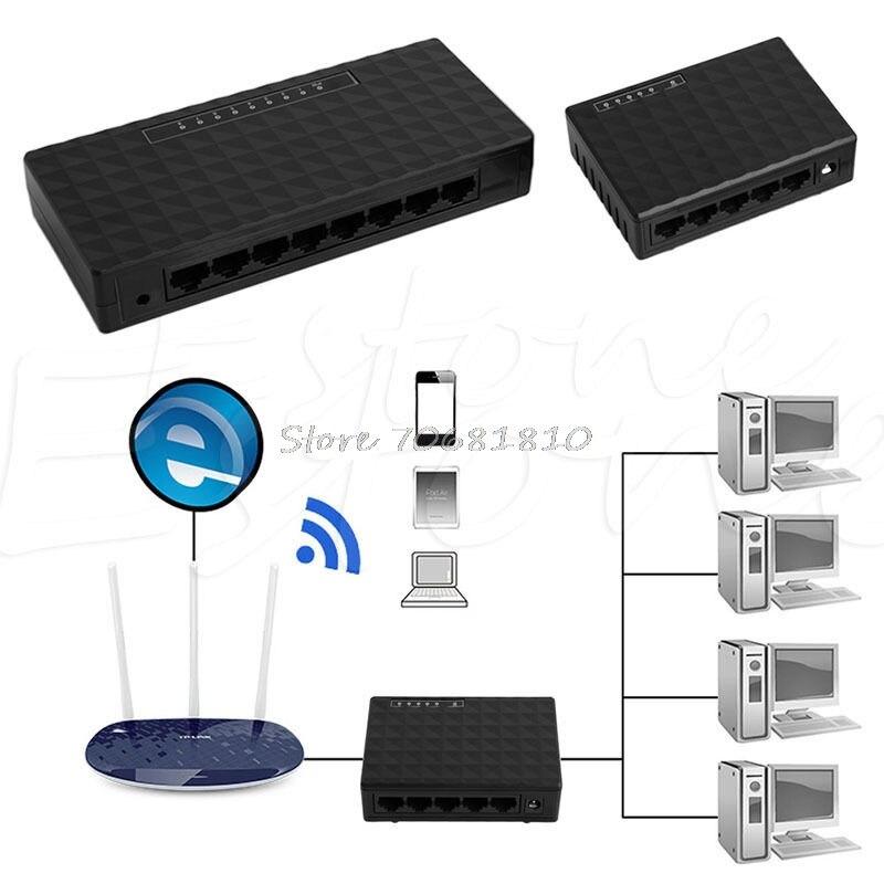 5/8 Port RJ-45 100 Ethernet Network Desktop Switch Auto-MDI/MDIX Hub D14