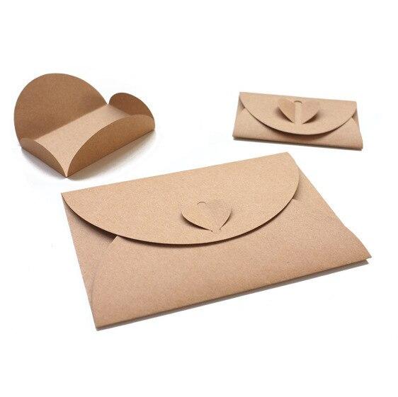 50pcs/lot Handmade Heart Kraft Envelope Vintage Envelopes Retro Stationery Set Postcard Photo Storage Christmas Gift Package