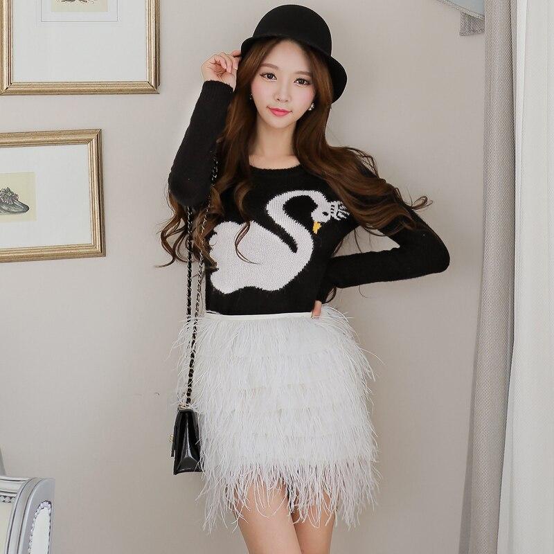 D'origine 2018 marque saia printemps automne mode taille haute casual mini blanc plume gland jupe crayon femmes en gros