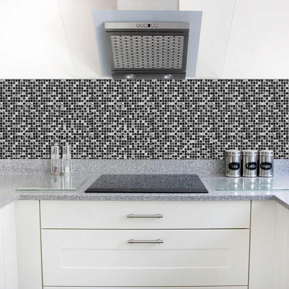20x20 см 15x15 см 10 шт./партия самоклеющаяся Съемная плитка наклейки черная мозаика креативная плитка для пасты кухня ванная комната пол подарок