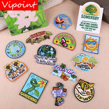 VIPOINT embroidery lotus sun star buttlefly patches sunflower letter badges applique for clothing YX-288