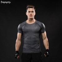 Homens esporte camiseta homens lycra camisas de compressão execução de fitness gym musculação basquete crossfit sob tee tops