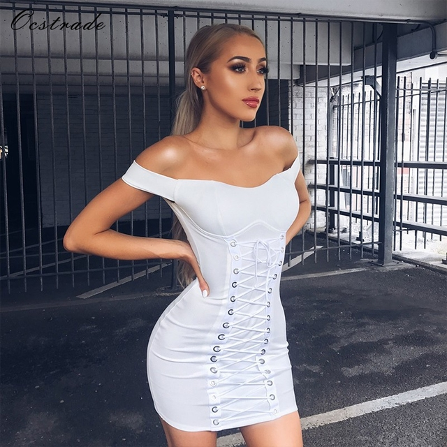 28e8c275df12 Ocstrade New Fashions 2017 New White off the shoulder Tie Front Lace up  Dress Women Sexy Bodycon Bandage Dress
