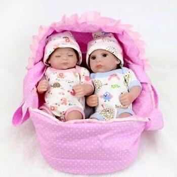 Reborn Babies Twins Boy And Girl Kids Toy Vinyl Silicone Lifelike Newborn Dolls Gift Handmade & High Quality Reborn Doll цена 2017
