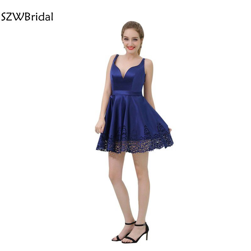 Fashion In Stock Sweetheart Royal Blue Cocktail Dresses Spaghetti Strap Cocktail Dress 2019 Vestido De Festa Curto