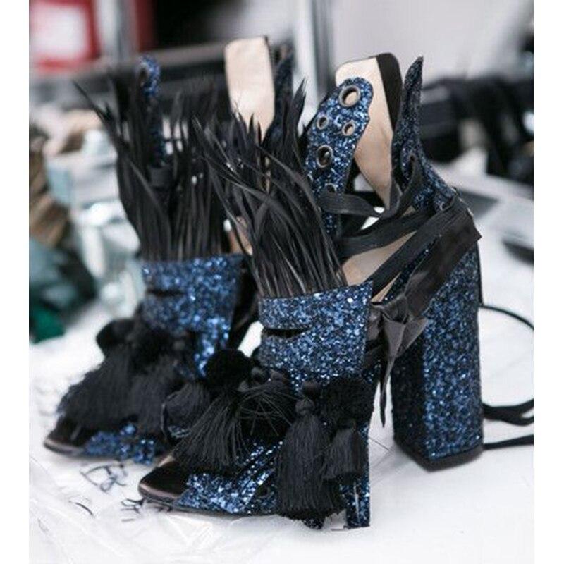 À Vintage Lacent Dames Toe Peep Bloc D'été Bling Talons Sandales Gladiateur De Gland Paillettes blue Femmes bling Black Mode Hauts Puffy xXqwFFS4fn