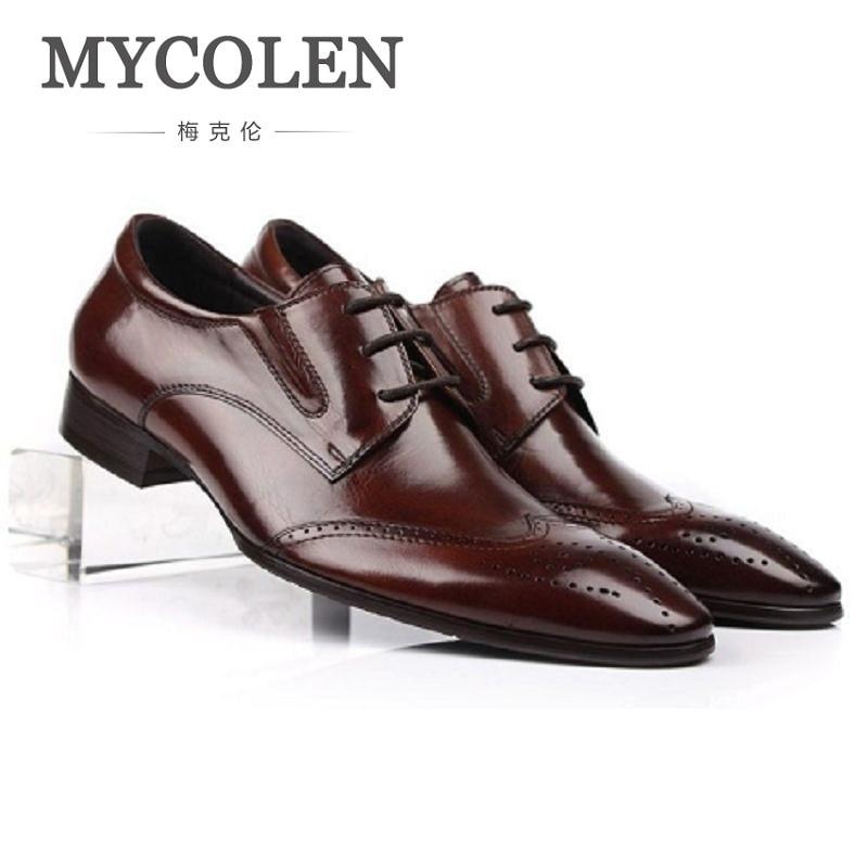 MYCOLEN Men Leather Business Genuine Leather Shoes Men's Luxury Bullock Pointed Toe Business Dress Gentlemen Working Shoes italians gentlemen пиджак