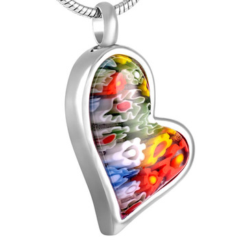 KLH8548 Mutil-colored Flower Irregular Heart Cremation Urn Jewlery Ashes Pendant-Wholesale Funeral Jewelry for Human ash