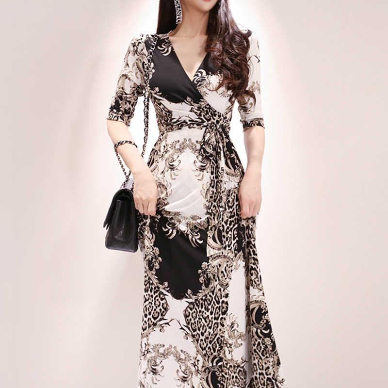 2019 летнее Новое поступление, модное длинное платье с v-образным вырезом, рукавом три четверти, с цветочным принтом, женское платье с разрезом