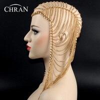 Chran 3 Colors Luxury Fashion Women Punk Multi Layer Metal Head Chain Jewelry Forehead Headband Hair Piece Body Jewelry HDCJ104