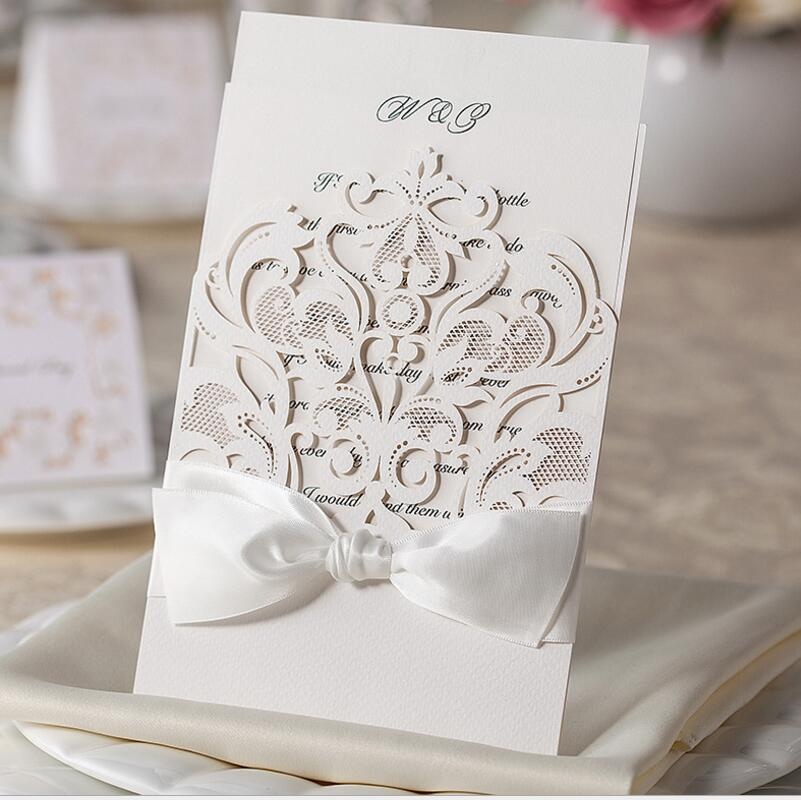 Hot 50pac/pack Laser Cut Lace Hollow Flower Wedding Invitations Birthday Cards Engagement for Marriage Anniversary Baby Shower 1 design laser cut white elegant pattern west cowboy style vintage wedding invitations card kit blank paper printing invitation