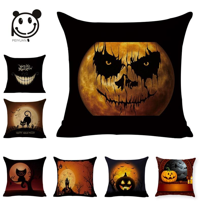 PEIYUAN personalizat Halloween dovleac Cat Owl negru lenjerie țesute - Textile de uz casnic