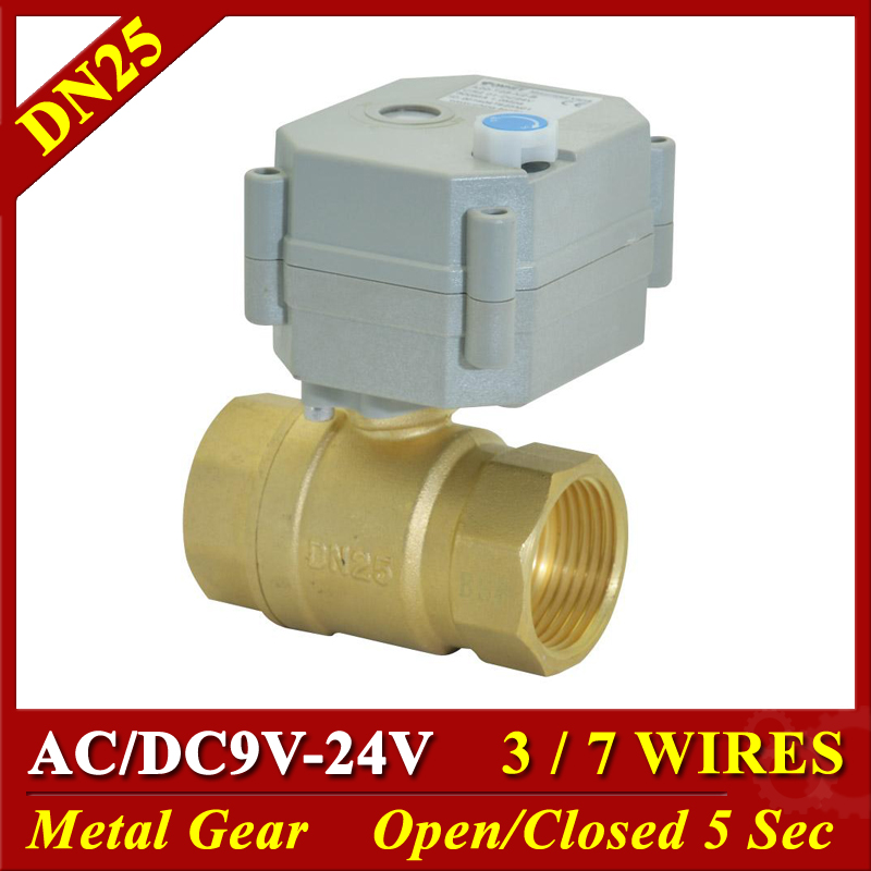 AC DC <font><b>12V</b></font> 24V 9V <font><b>Motorized</b></font> <font><b>Ball</b></font> <font><b>Valve</b></font> Brass DN20 Metal Gear 1 Inch TF25-B2 Series 3/7 Wires 2 Way DN25 Electric Shut Off <font><b>Valves</b></font> image