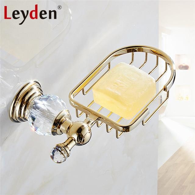 Leyden Luxury Crystal Shower Soap Holder Basket Polished Gold Soap