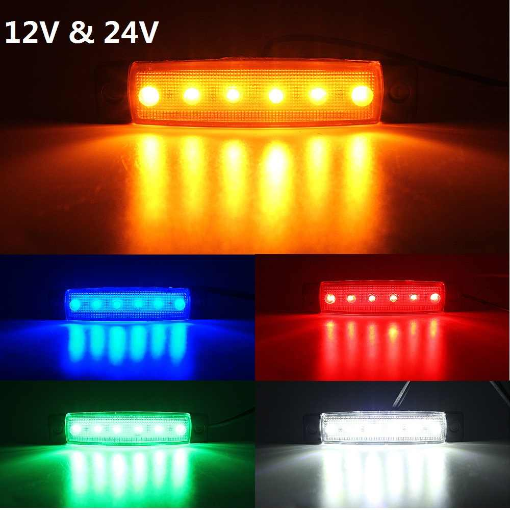 2pcs ANBLUB 12V 24V Car External Light 6 LEDs Auto Car Bus Lorry Truck Trailer Side Marker Light Warning Lamp Rear Brake Light
