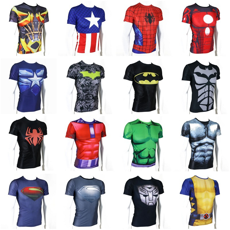 Summer Men's T-shirts Super Heroes Avenger Captain America Batman Sport T Shirt Mens Gym Bodybuilding Shirts Fitness Tops - PKNO'S store