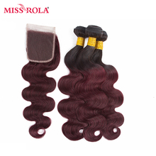 Miss Rola Hair Pre-colord Indian Body Wave Hair Weaving 3 Bundles With Closure #T1B/99J Color  Human Non-Remy Hair Extension