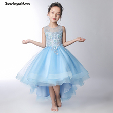 Blue 2019 Flower Girl Dresses For Weddings Ball Gown Tulle Lace Short Front Long Back First Communion Dresses For Little Girls flower girl dresses for weddings ball gown tulle appliques lace long sleeves first communion dresses real picture high quality