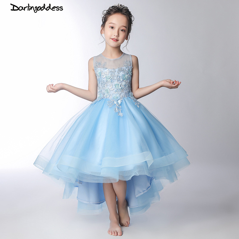 Blue 2019   Flower     Girl     Dresses   For Weddings Ball Gown Tulle Lace Short Front Long Back First Communion   Dresses   For Little   Girls