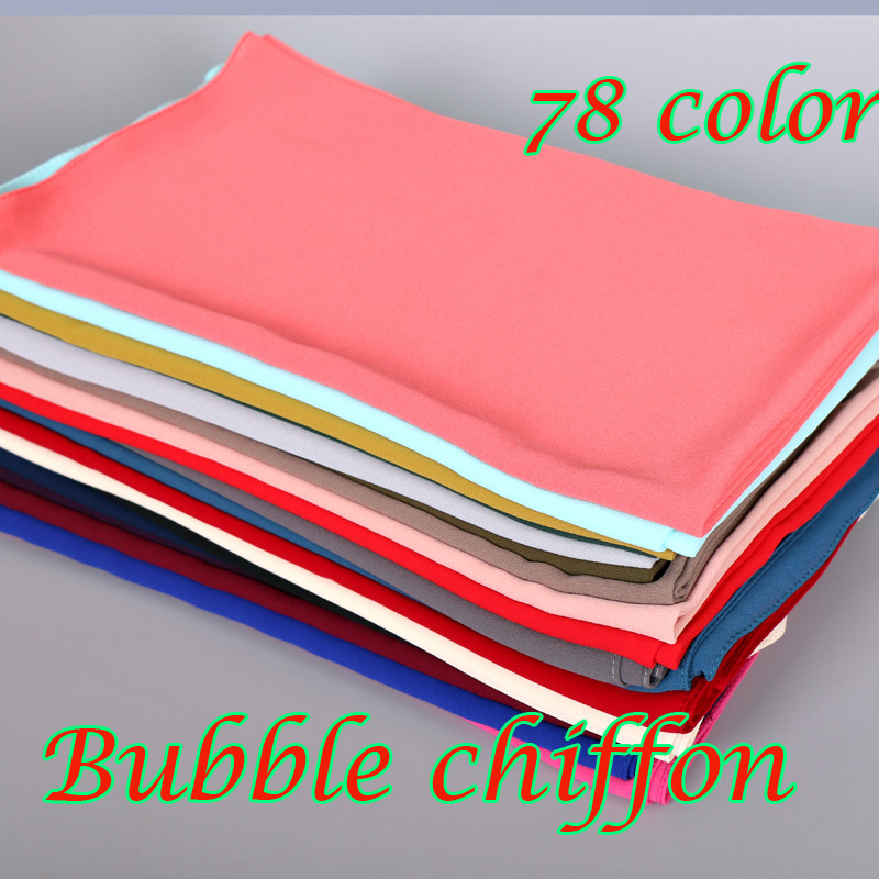 women plain bubble chiffon scarf hijab wrap printe solid color shawls headband popular hijab muslim scarves/scarf 78 color