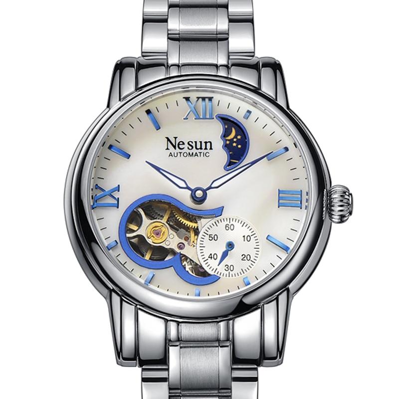 Szwajcaria nowa luksusowa marka Nesun Hollow kobiety zegarek automatyczny auto wiatr zegar ze stali nierdzewnej zegarki wodoodporne kobiety N9061 4 w Zegarki damskie od Zegarki na  Grupa 1