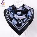 [BYSIFA] Brand Black Peony Square Scarves Headscarves 90*90cm Satin Hair Scarves Autumn Winter Cheap Women Silk Scarf Shawl
