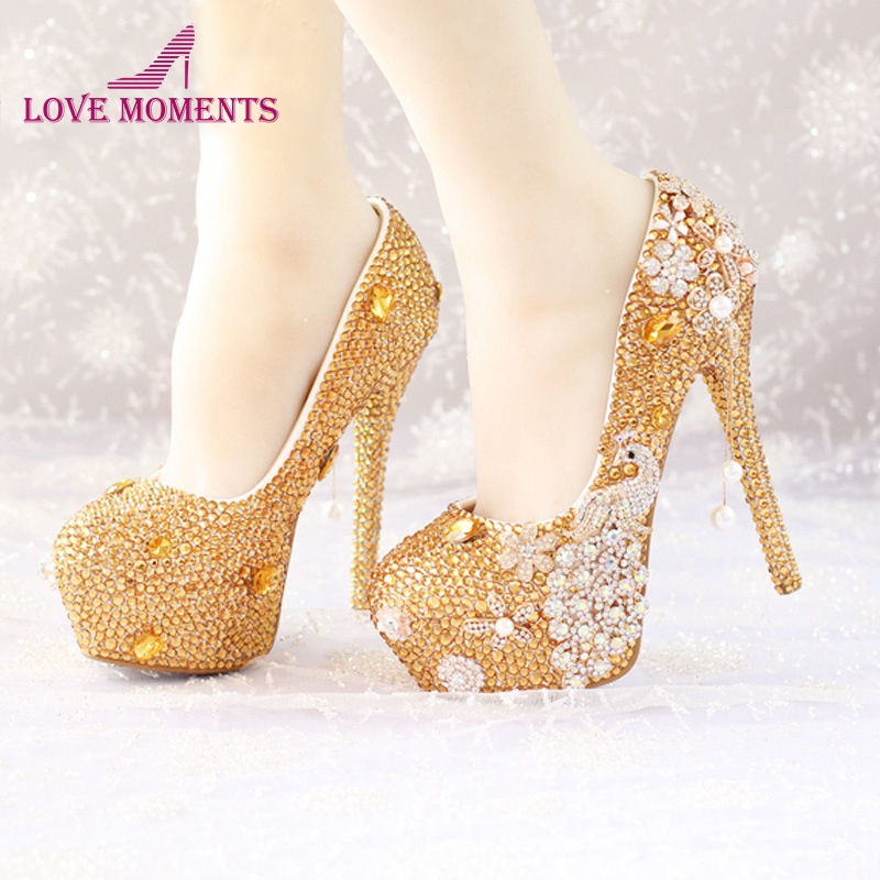 Wedding Shoes Party Pumps Bling Diamond Evening Prom Heels Custom Made Gold Crystal Phoenix Gorgeous Cinderella Prom Shoes women s fashion gold lace dinner evening party pumps shoes plus sizes low high heels custom made bridal wedding shoes