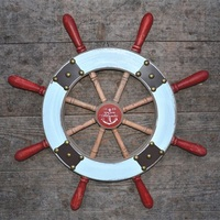 Mediterranean Style Vintage Home Decor 55cm Boat Helmsman Wooden Crafts Wall Hangings Home Living Room Bar