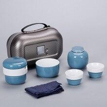 Portable Tea Set Include 1 Teapot 2 Teacups 1bag 1tea Caddies Kettle Chinese Travel Ceramic Teaset Gaiwan