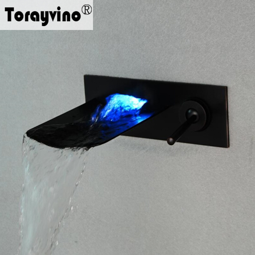 Torayvino LED Bathroom Basin Brass Sink Waterfall Oil Rubbed Bronze Finish Mixer Tap Faucet Wall Mounted Bathroom Mixer Tap free shipping polished chrome finish new wall mounted waterfall bathroom bathtub handheld shower tap mixer faucet yt 5333