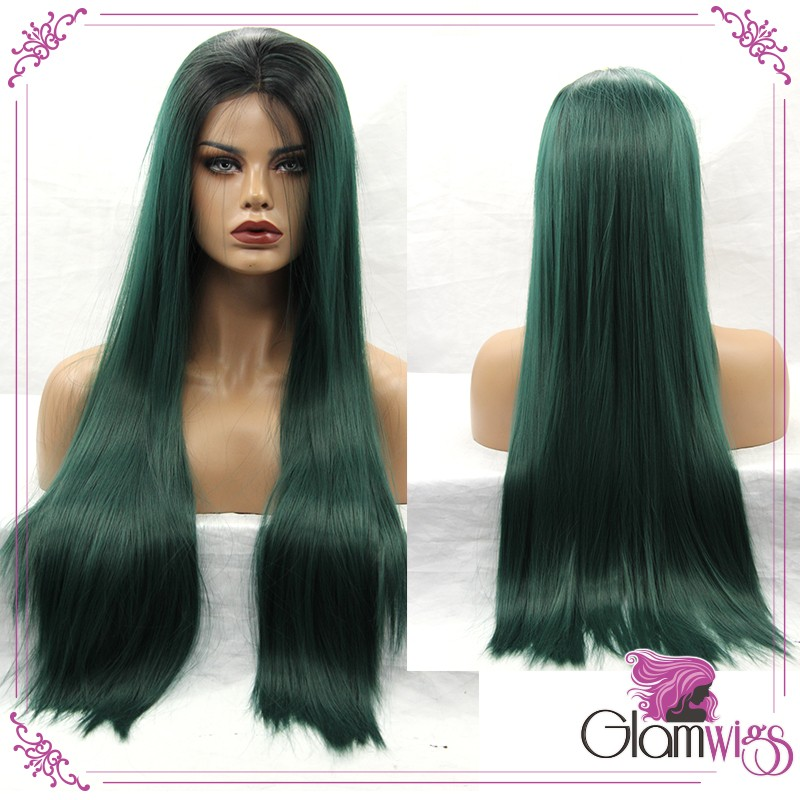 Long Straight Ombre Green Dark Root Synthetic Lace Front Wigs South Afric Women Wigs with Baby Hair Glueless Lace Wigs-1