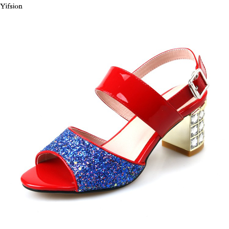Yifsion New Women Rhinestone Leather Sandals Square Mid Heels Sandals Open Toe Gorgeous Red Party Shoes Ladies US Plus Size 3-13Yifsion New Women Rhinestone Leather Sandals Square Mid Heels Sandals Open Toe Gorgeous Red Party Shoes Ladies US Plus Size 3-13