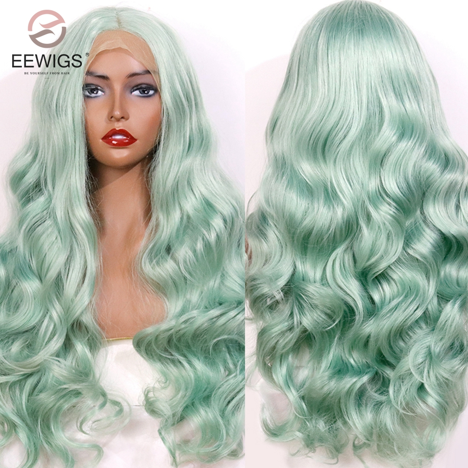 EEWIGS Mint Green Color Heat Resistant Hair Synthetic Lace Front Wig 180 Heavy Density Natural Wave Cosplay Wigs For Black Women